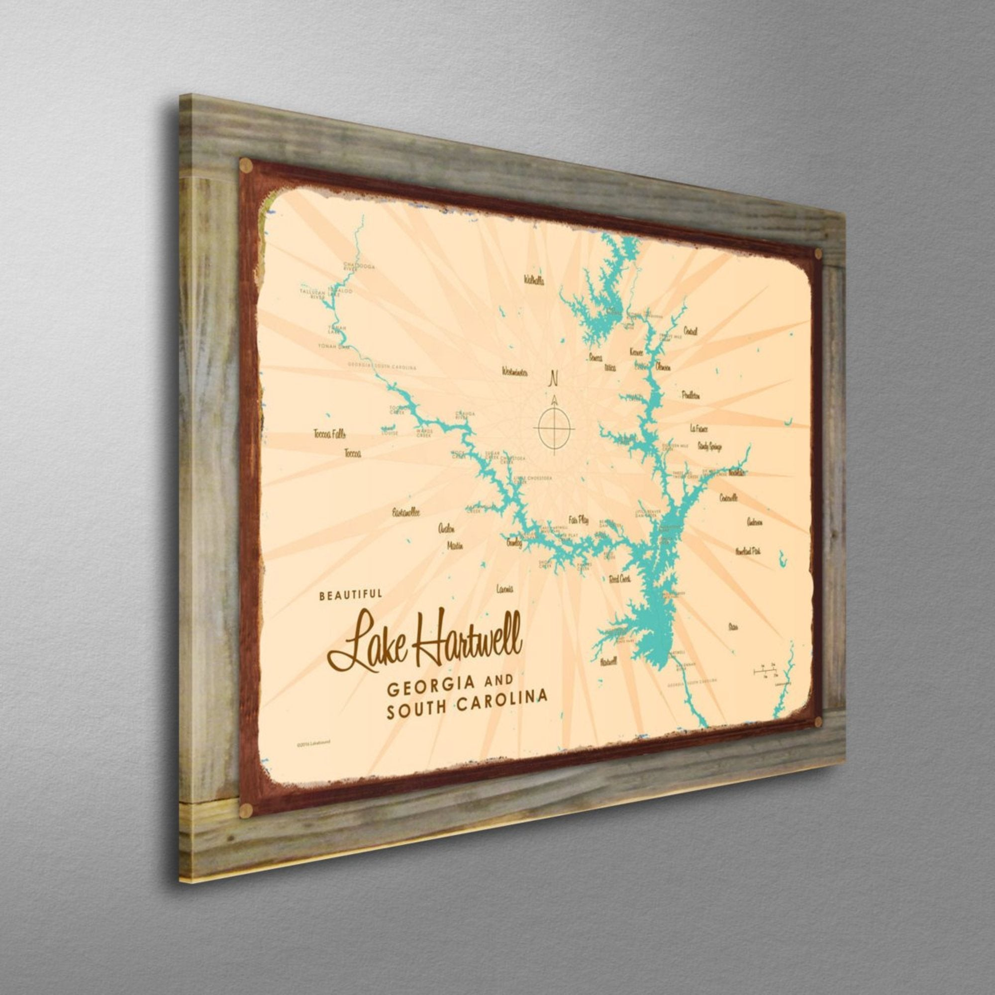 Lake Hartwell, Wood-Mounted Rustic Metal Sign Map Art