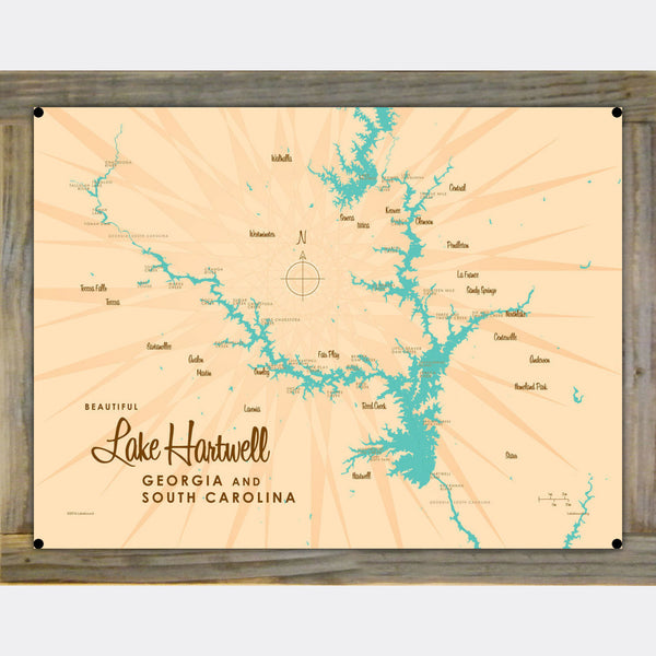Lake Hartwell, Wood-Mounted Metal Sign Map Art
