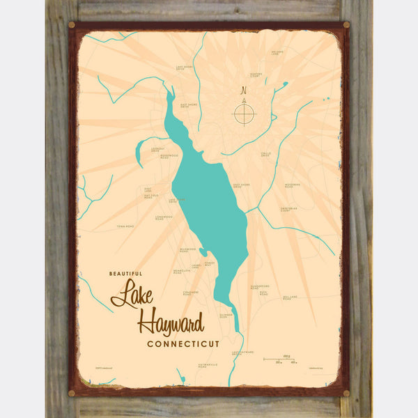 Lake Hayward Connecticut, Wood-Mounted Rustic Metal Sign Map Art