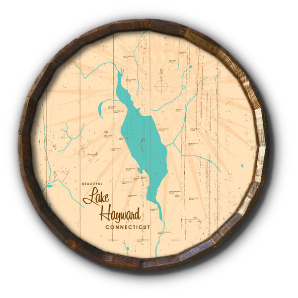 Lake Hayward Connecticut, Rustic Barrel End Map Art