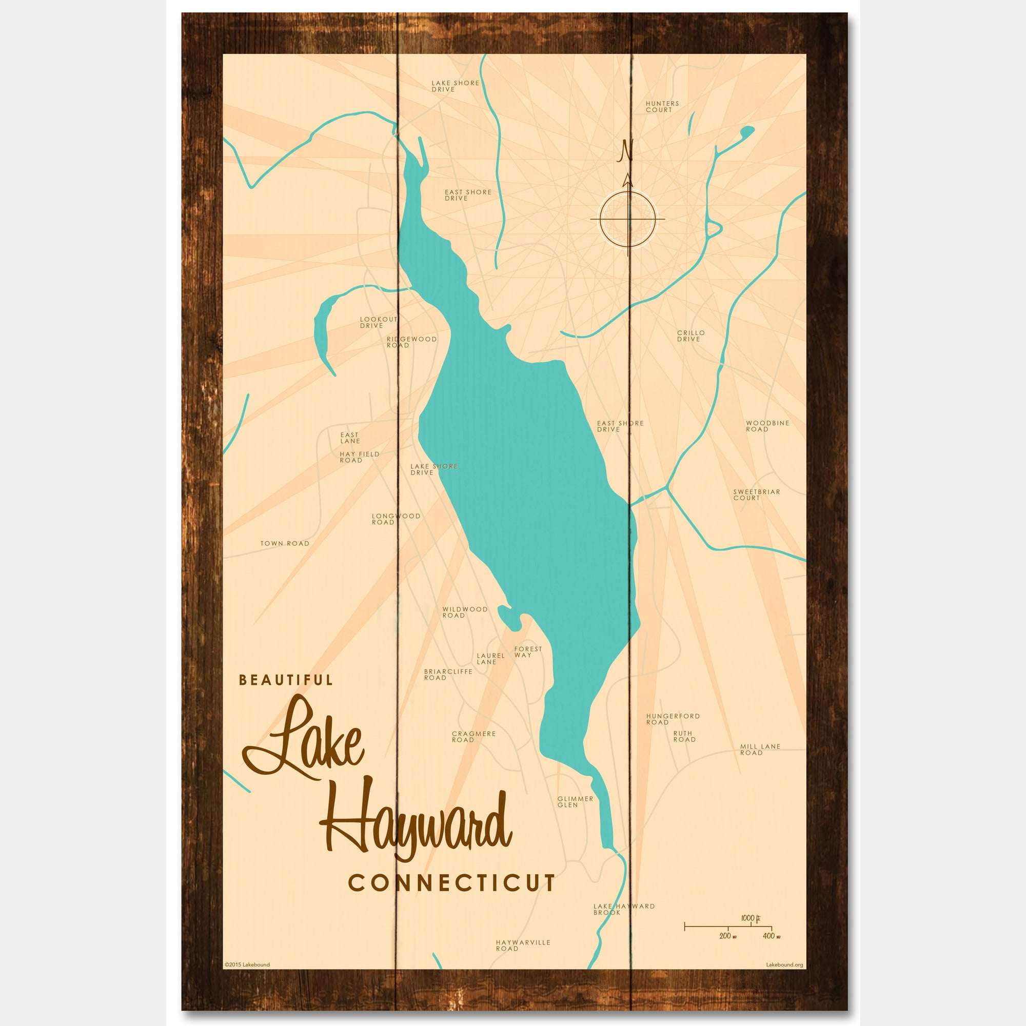 Lake Hayward Connecticut, Rustic Wood Sign Map Art