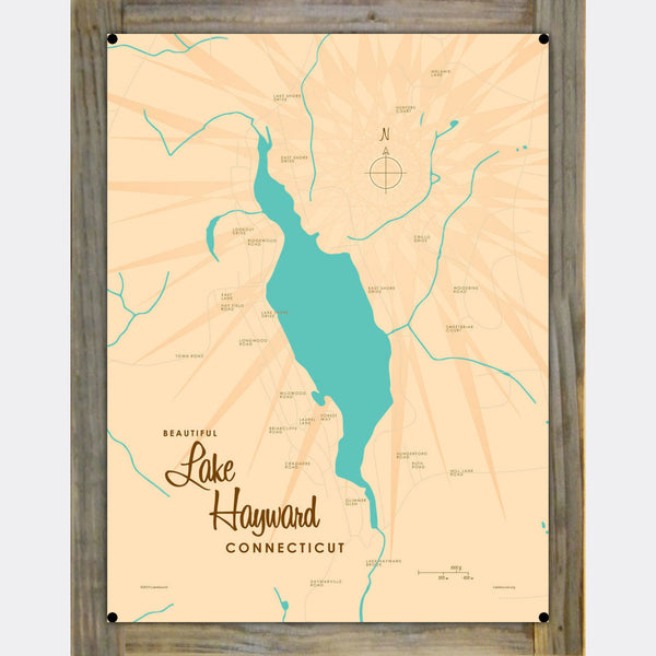 Lake Hayward Connecticut, Wood-Mounted Metal Sign Map Art