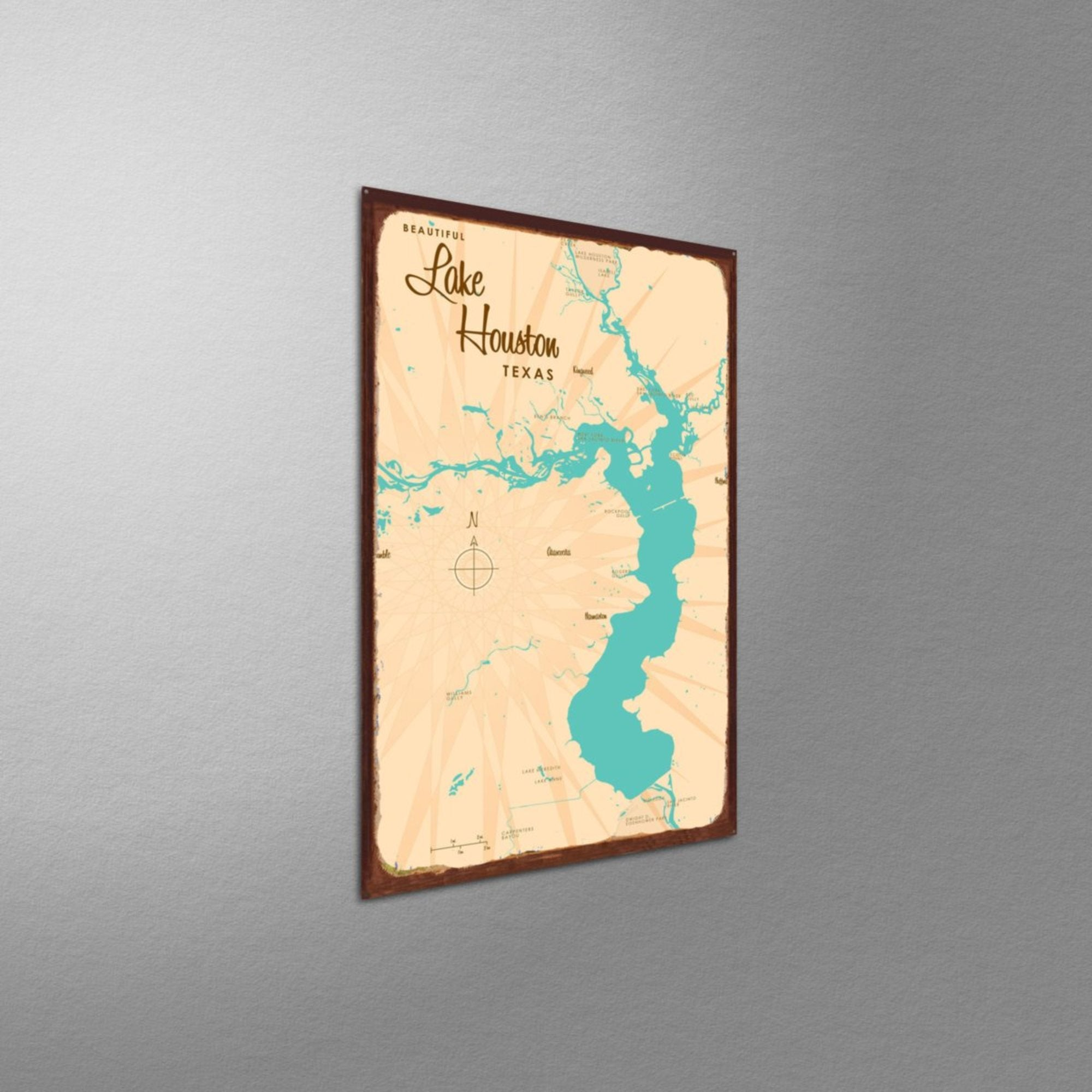 Lake Houston Texas, Rustic Metal Sign Map Art – Lakebound