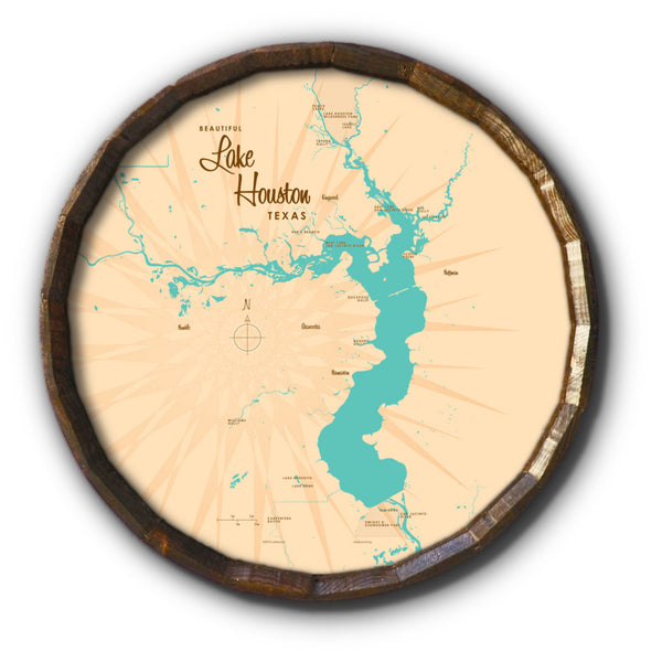 Lake Houston Texas, Barrel End Map Art