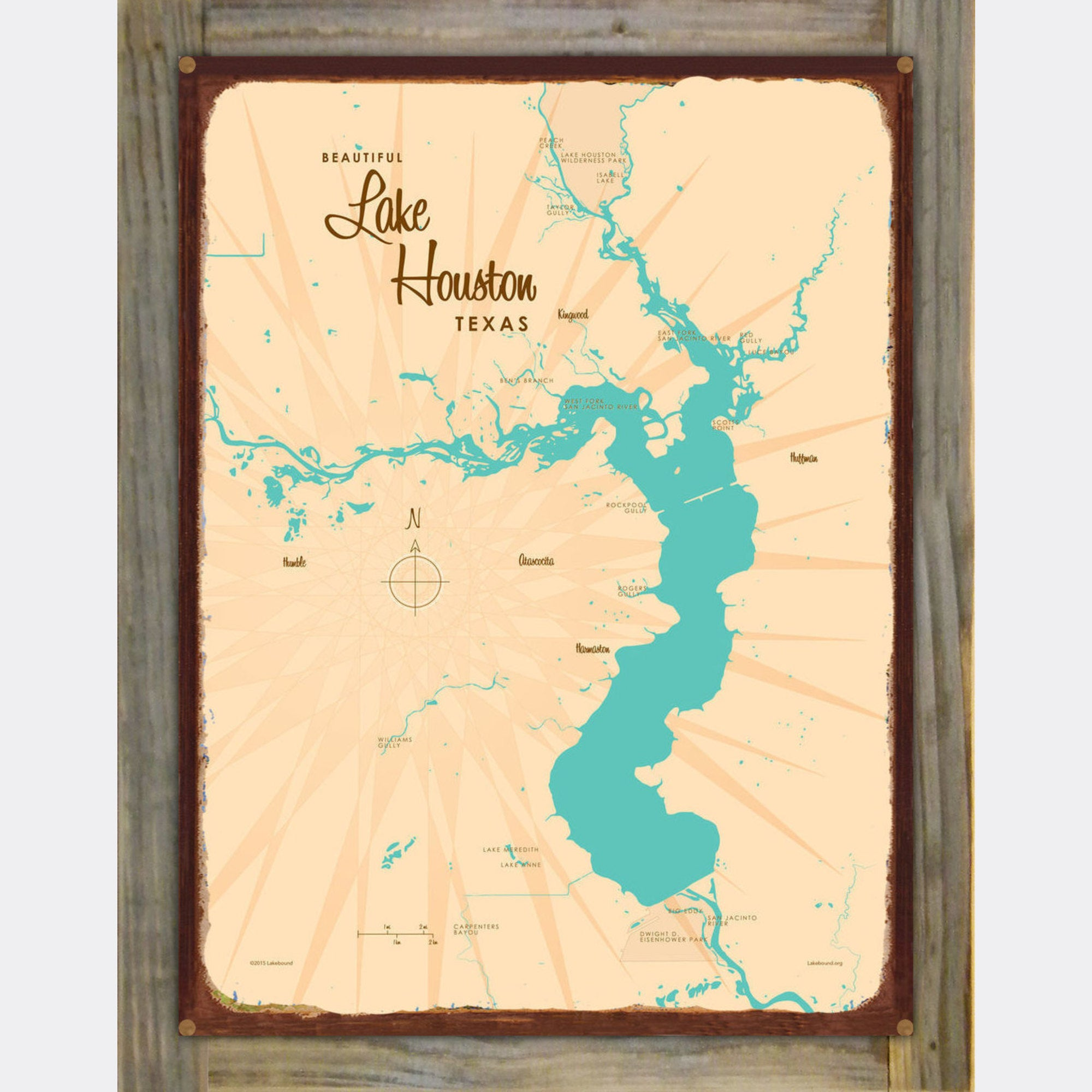 Lake Houston Texas, Wood-Mounted Rustic Metal Sign Map Art