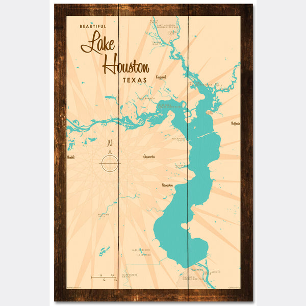 Lake Houston Texas, Rustic Wood Sign Map Art