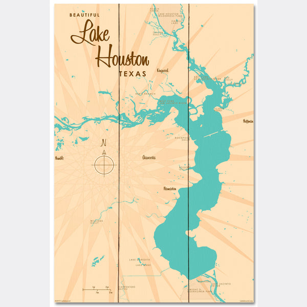 Lake Houston Texas, Wood Sign Map Art