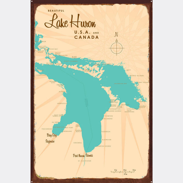 Lake Huron Michigan, Rustic Metal Sign Map Art