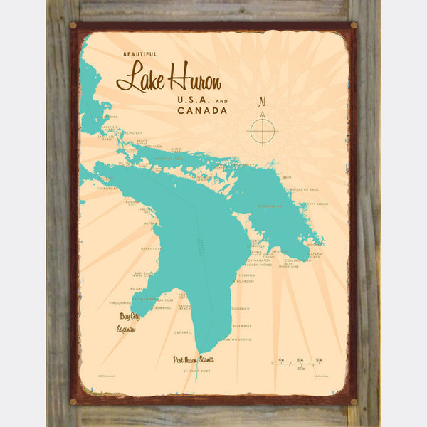 Lake Huron Michigan, Wood-Mounted Rustic Metal Sign Map Art