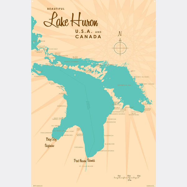 Lake Huron Michigan, Metal Sign Map Art