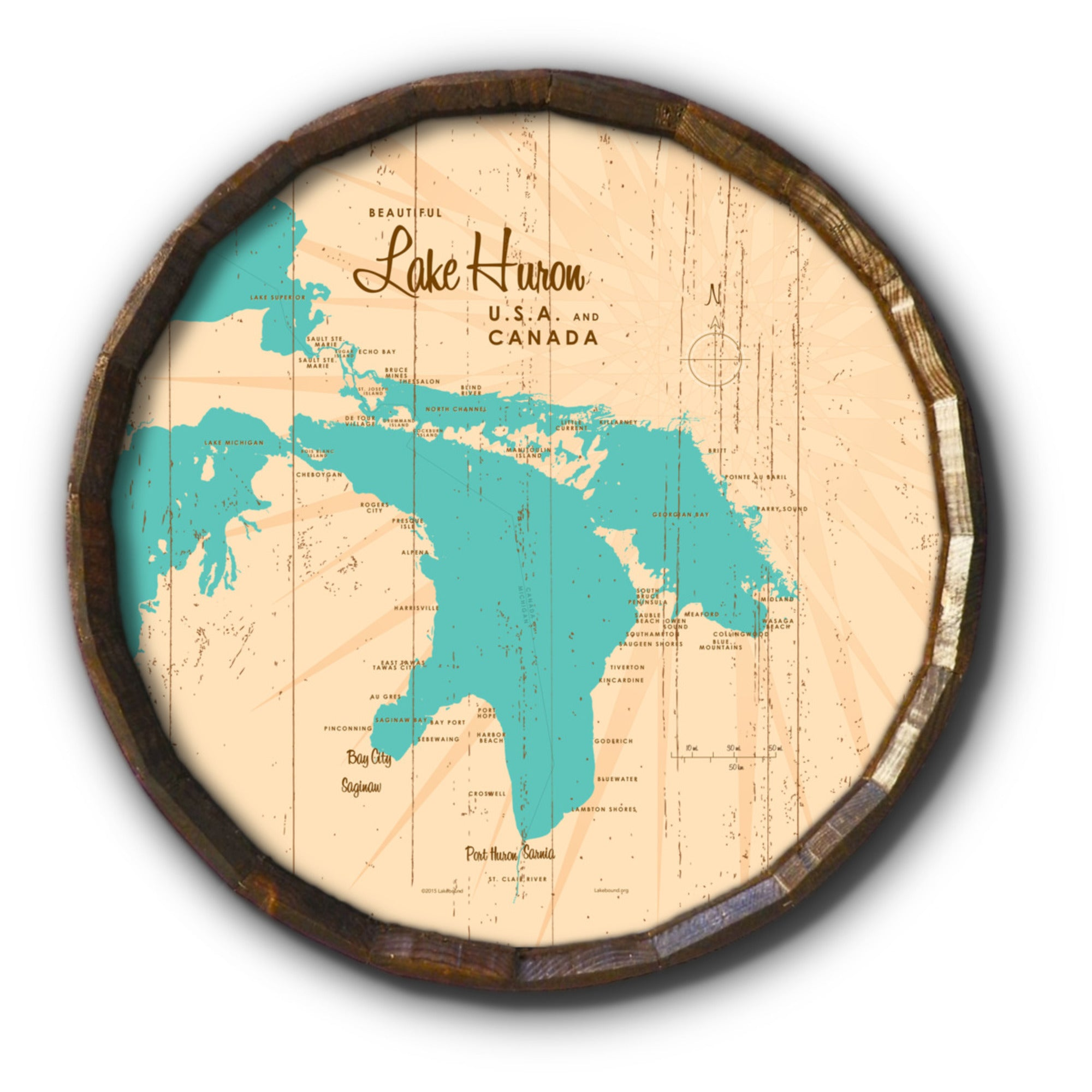 Lake Huron Michigan, Rustic Barrel End Map Art