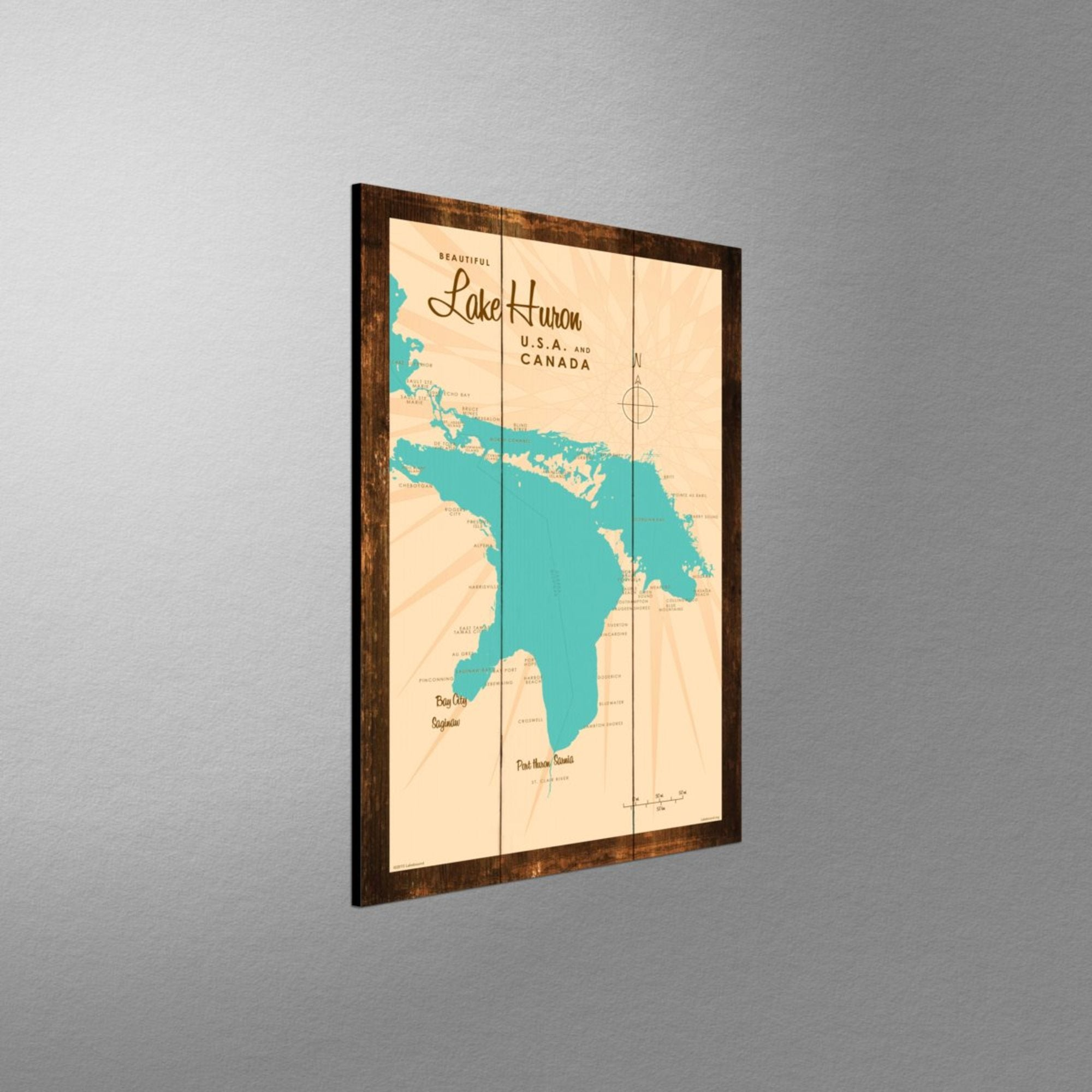 Lake Huron Michigan, Rustic Wood Sign Map Art