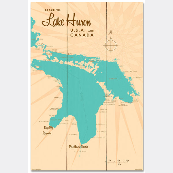 Lake Huron Michigan, Wood Sign Map Art