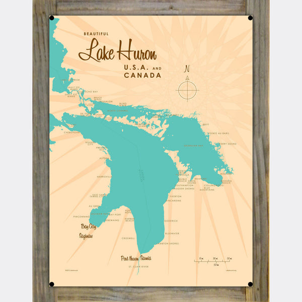 Lake Huron Michigan, Wood-Mounted Metal Sign Map Art