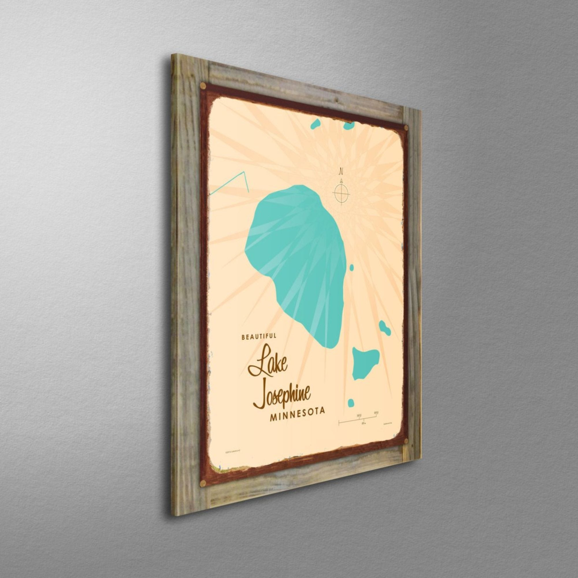 Lake Josephine Minnesota, Wood-Mounted Rustic Metal Sign Map Art