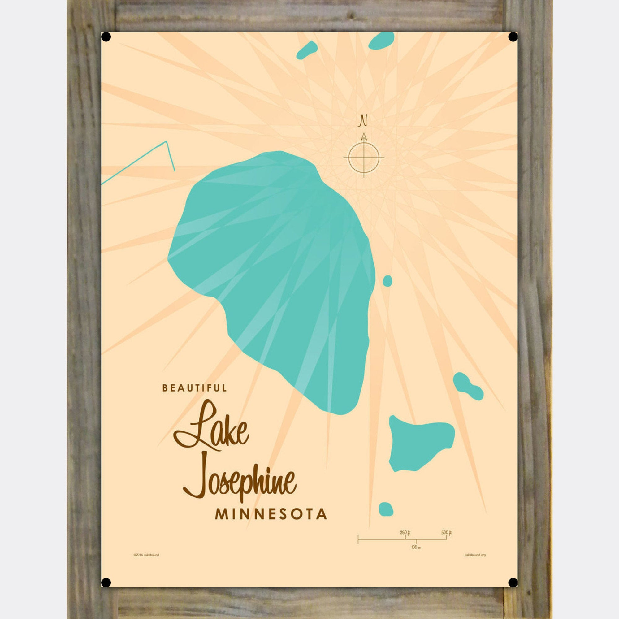 Lake Josephine Minnesota, Wood-Mounted Metal Sign Map Art