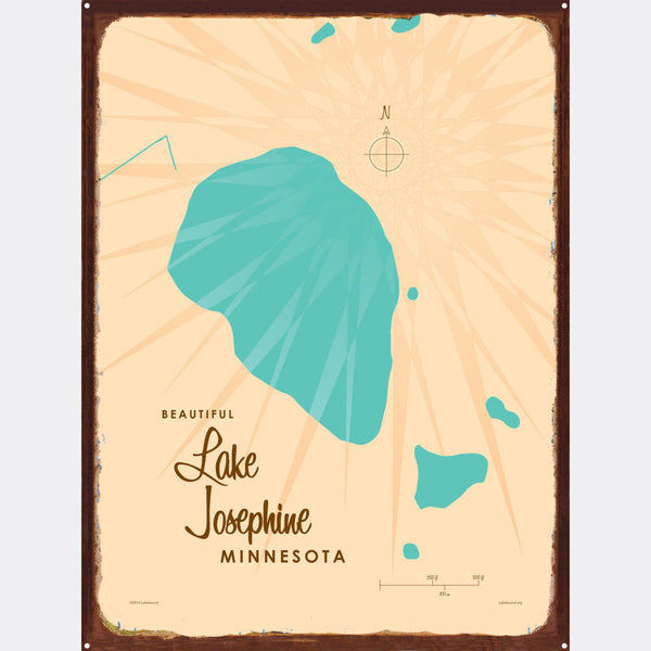 Lake Josephine Minnesota, Rustic Metal Sign Map Art