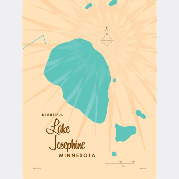 Lake Josephine Minnesota, Metal Sign Map Art