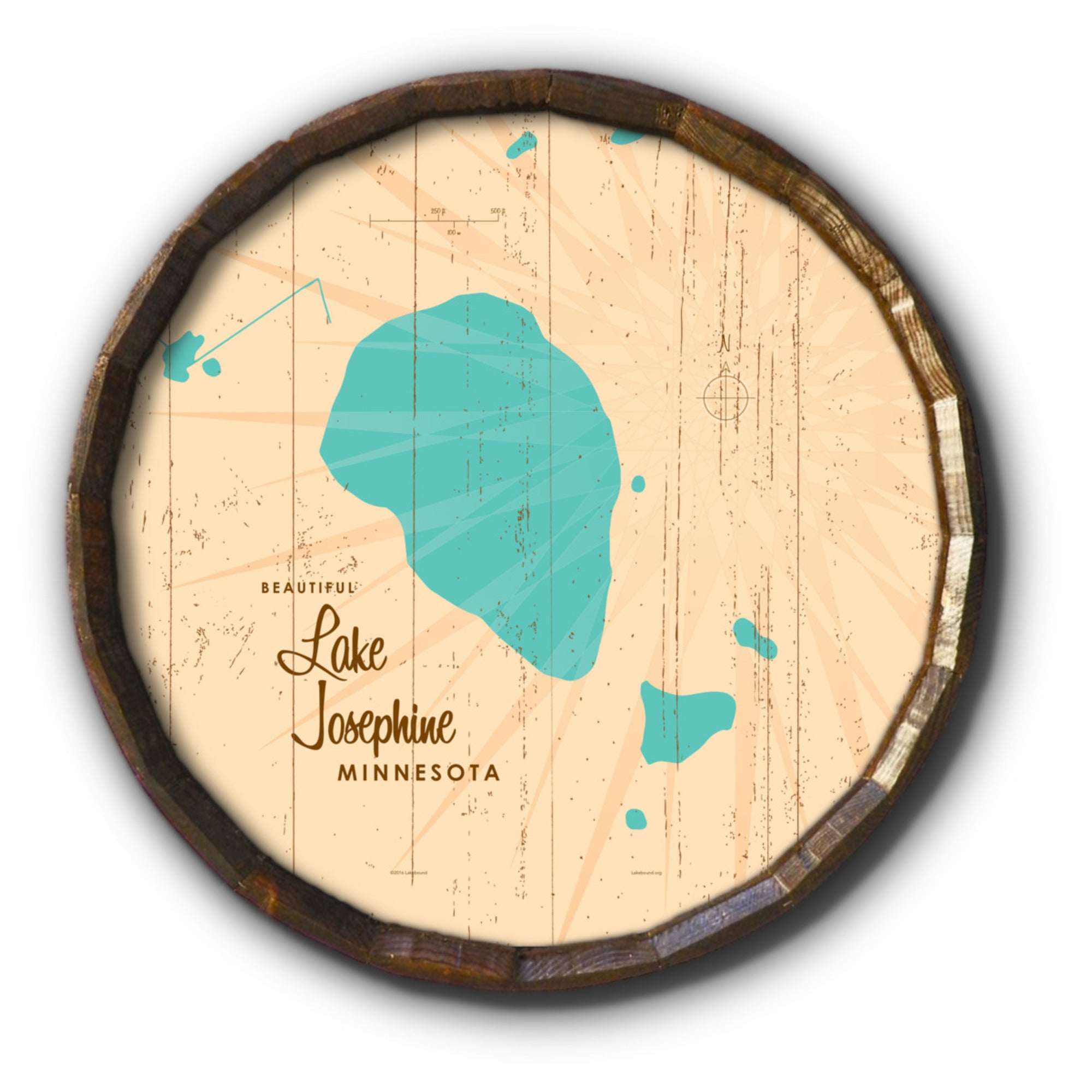 Lake Josephine Minnesota, Rustic Barrel End Map Art