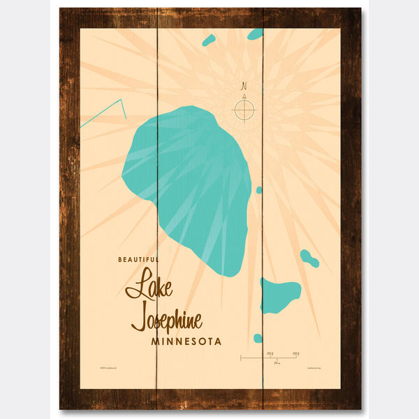 Lake Josephine Minnesota, Rustic Wood Sign Map Art