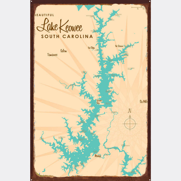Lake Keowee South Carolina, Rustic Metal Sign Map Art