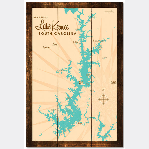 Lake Keowee South Carolina, Rustic Wood Sign Map Art