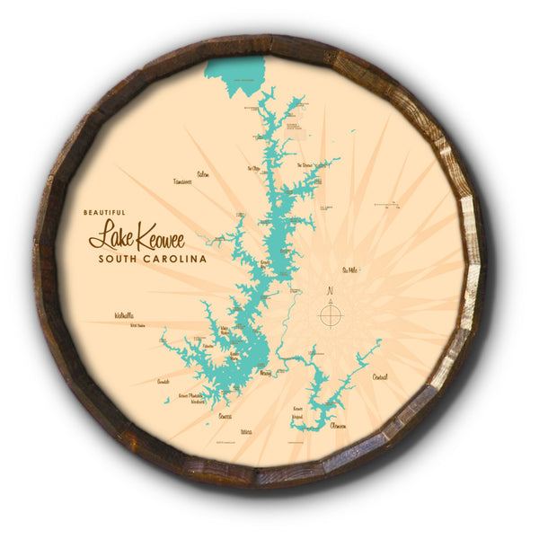 Lake Keowee South Carolina, Barrel End Map Art