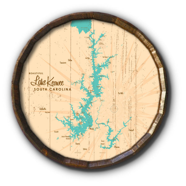 Lake Keowee South Carolina, Rustic Barrel End Map Art