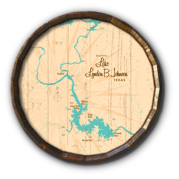 Lake LBJ Texas, Rustic Barrel End Map Art