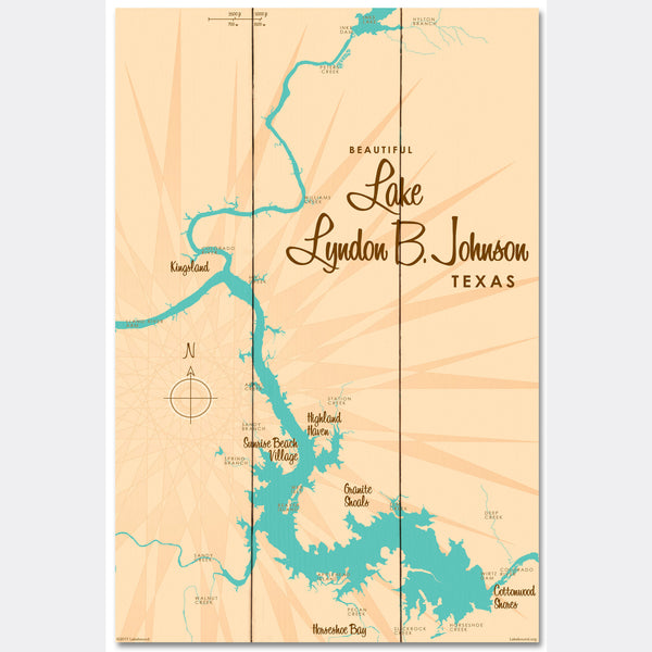 Lake LBJ Texas, Wood Sign Map Art
