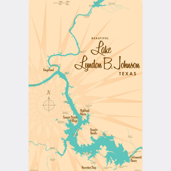Lake LBJ Texas, Metal Sign Map Art