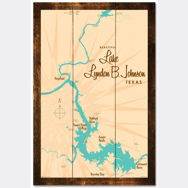 Lake LBJ Texas, Rustic Wood Sign Map Art