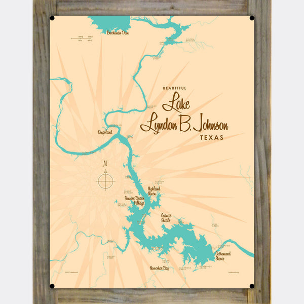 Lake LBJ Texas, Wood-Mounted Metal Sign Map Art