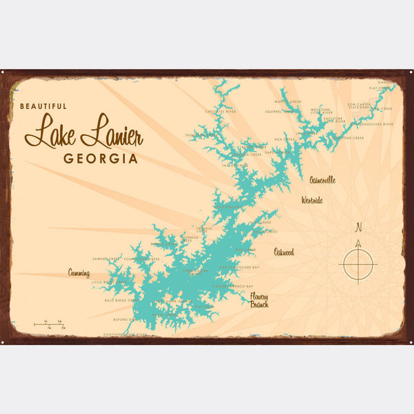 Lake Lanier Georgia, Rustic Metal Sign Map Art