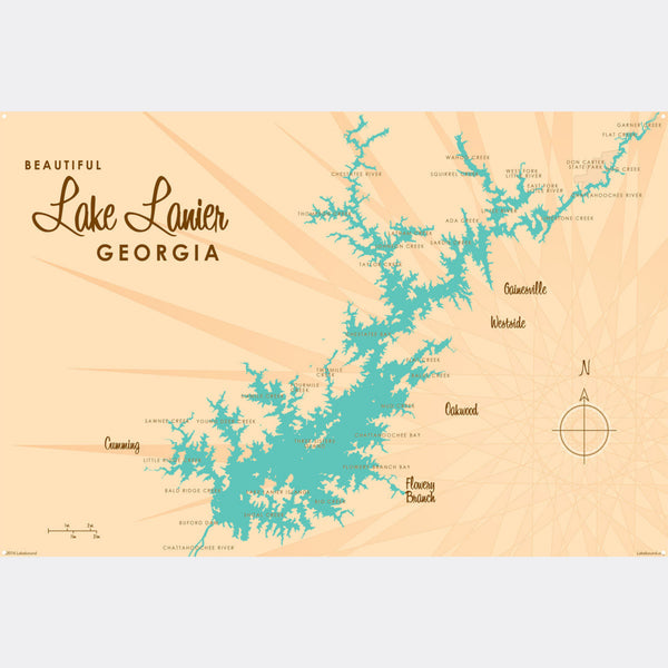 Lake Lanier Georgia, Metal Sign Map Art