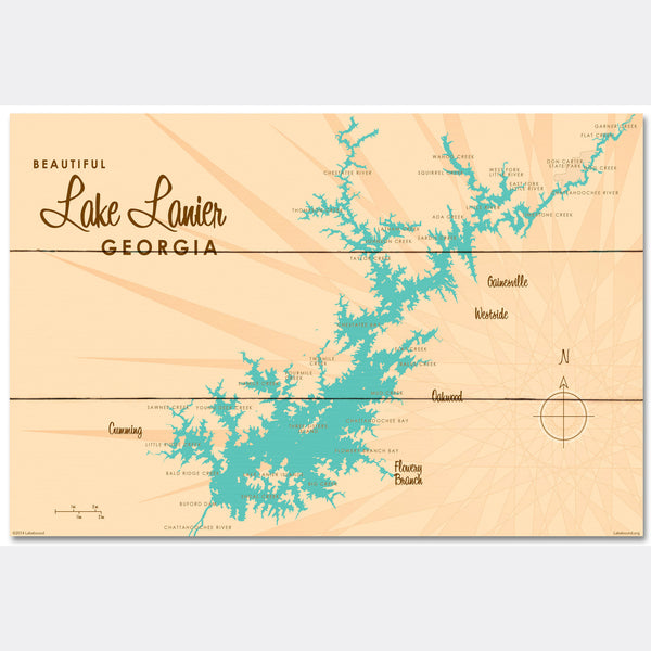Lake Lanier Georgia, Wood Sign Map Art