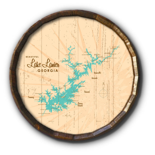 Lake Lanier Georgia, Rustic Barrel End Map Art