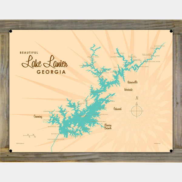 Lake Lanier Georgia, Wood-Mounted Metal Sign Map Art