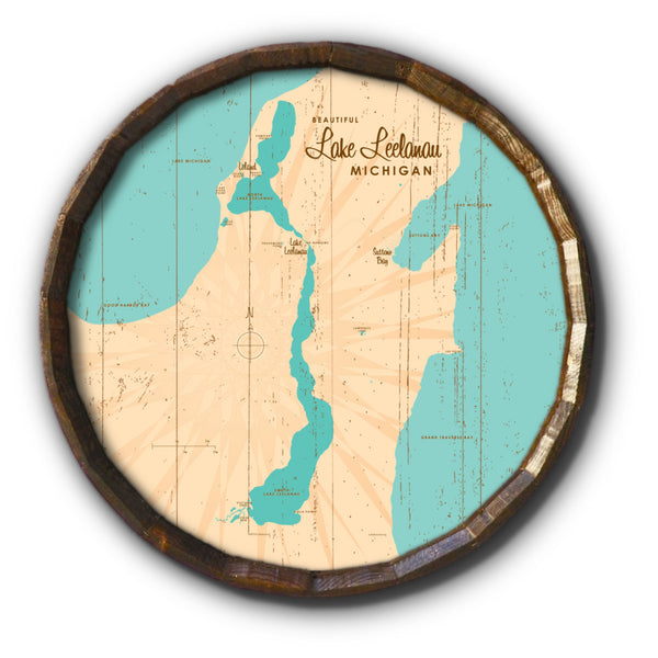 Lake Leelanau Michigan, Rustic Barrel End Map Art