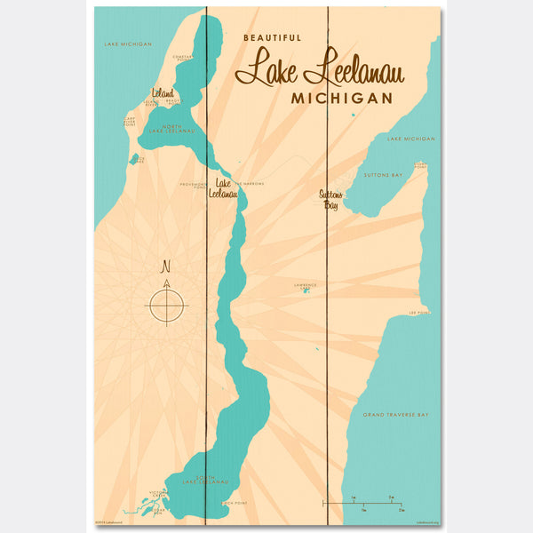 Lake Leelanau Michigan, Wood Sign Map Art