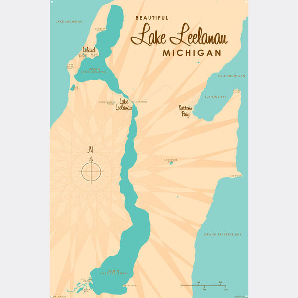 Lake Leelanau Michigan, Metal Sign Map Art
