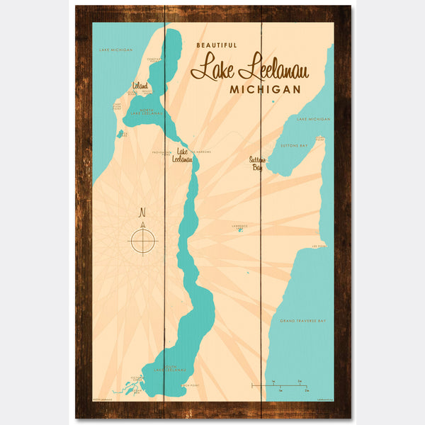Lake Leelanau Michigan, Rustic Wood Sign Map Art