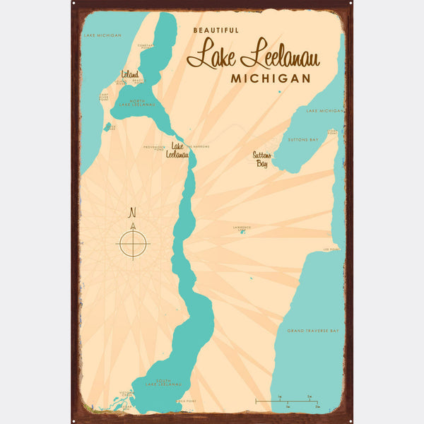 Lake Leelanau Michigan, Rustic Metal Sign Map Art