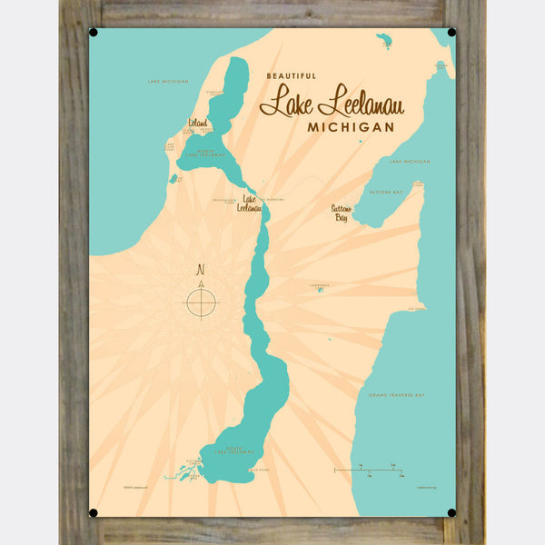 Lake Leelanau Michigan, Barrel End Map Art