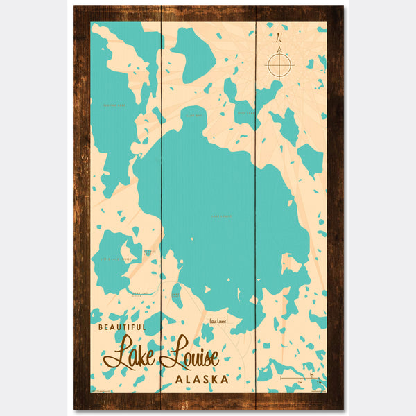 Lake Louise Alaska, Rustic Wood Sign Map Art