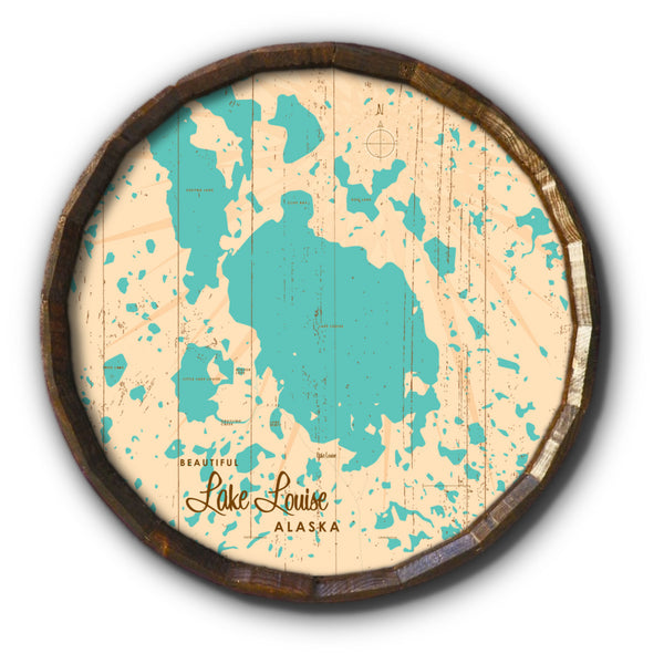 Lake Louise Alaska, Rustic Barrel End Map Art