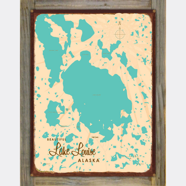 Lake Louise Alaska, Wood-Mounted Rustic Metal Sign Map Art