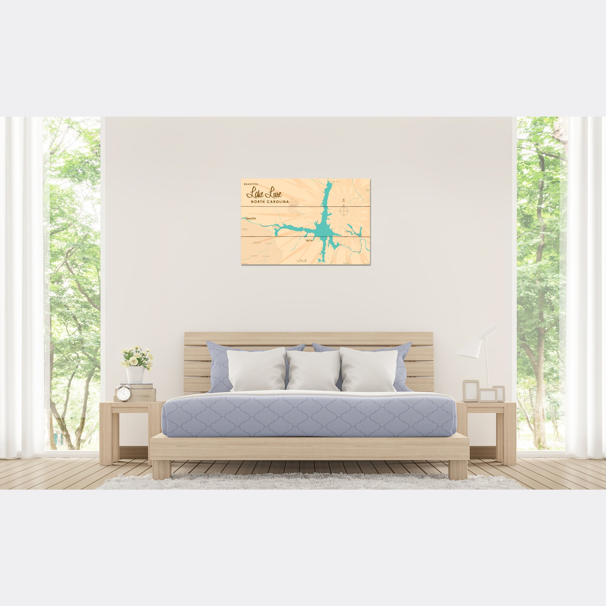 Lake Lure North Carolina, Wood Sign Map Art