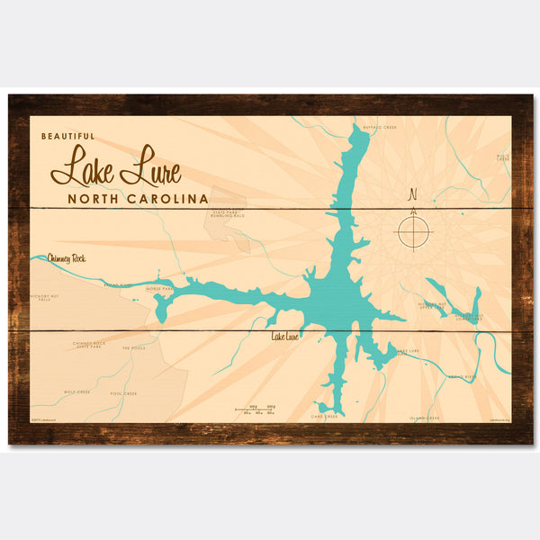 Lake Lure North Carolina, Rustic Wood Sign Map Art