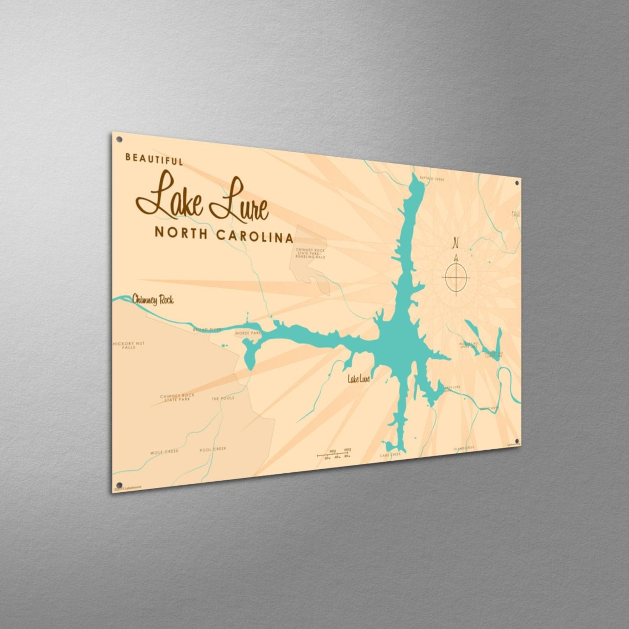 Lake Lure North Carolina, Metal Sign Map Art
